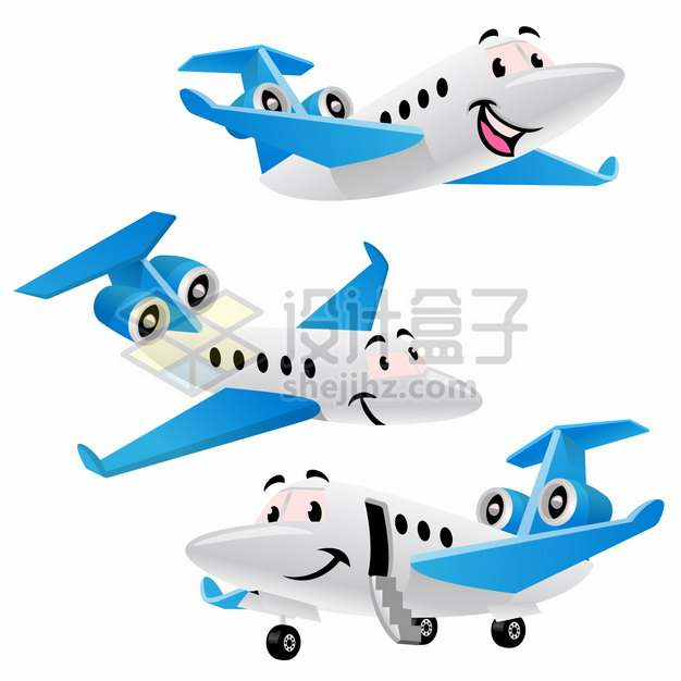 可爱的卡通蓝白色商务机小型飞机png图片素材