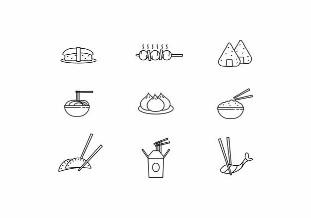 寿司烤肉串粽子面条包子米饭饺子等线条美食图标png图片素材770025 图标-第1张