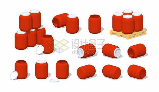 红色塑料化工桶木制托盘上的塑料桶png图片素材