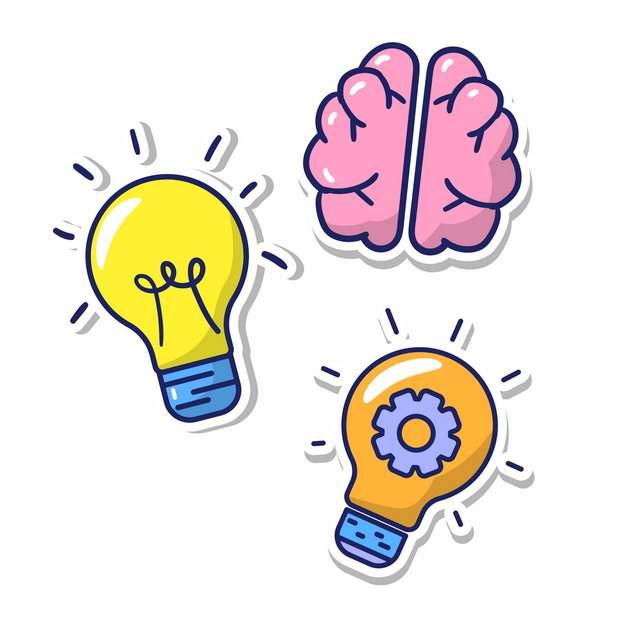 卡通电灯泡和大脑png图片素材608039