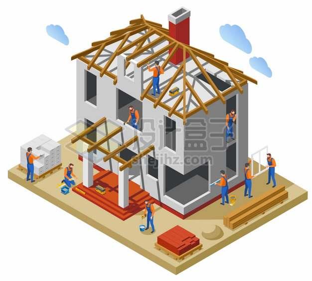 2.5D风格建筑工人在建造一座房子png图片素材