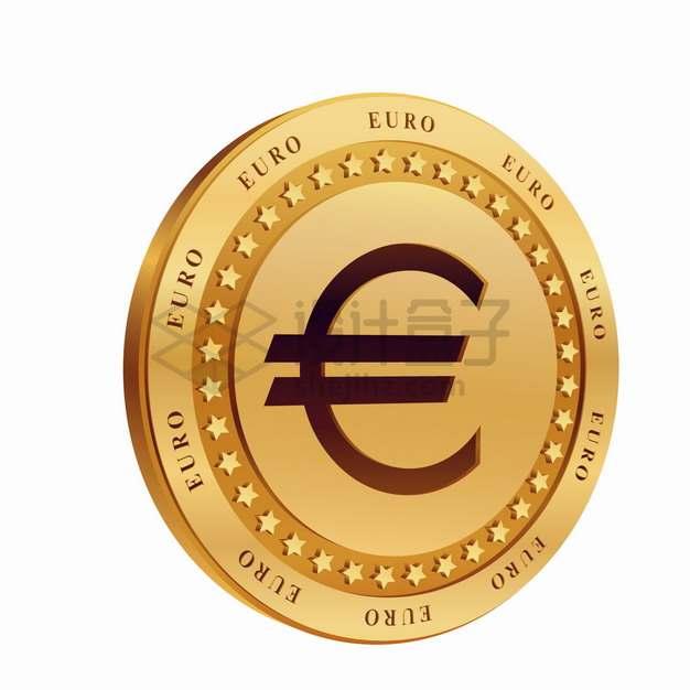 3D立体印有欧元符号的金币硬币png图片素材