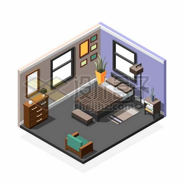 2.5D风格卡通卧室房间内部装修展示330833png矢量图片素材