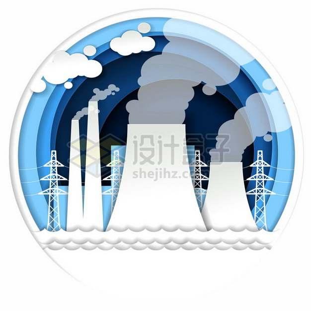剪纸叠加风格冒烟的工厂烟囱493305png图片素材