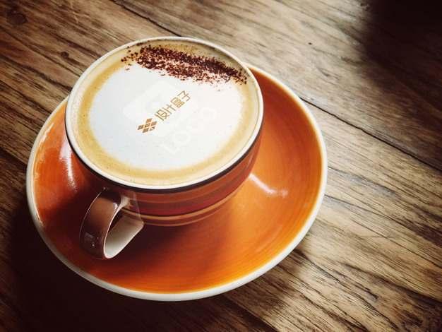 咖啡杯中咖啡拉花样机图案711002png图片素材