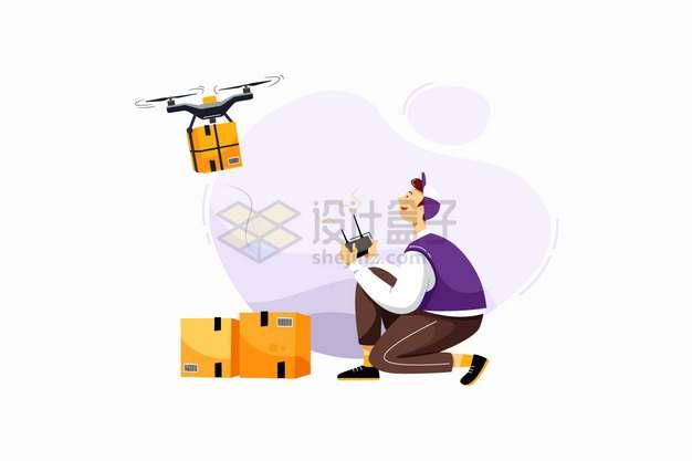 使用无人机送货的快递员png图片素材