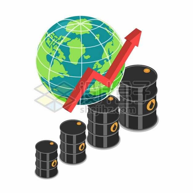 绿色地球模型和石油桶原油价格上涨箭头象征了石油危机png图片素材