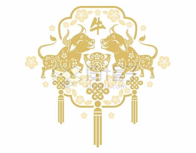 2021年牛年中国风金色剪纸贴花窗花279024png矢量图片素材