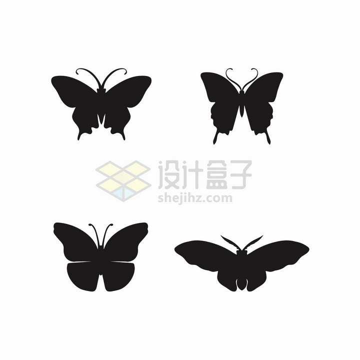 4款蝴蝶剪影美丽的昆虫png图片免抠矢量素材