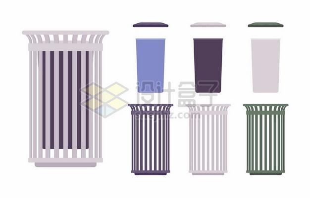各种垃圾桶扁平插画285258png矢量图片素材 生活素材-第1张