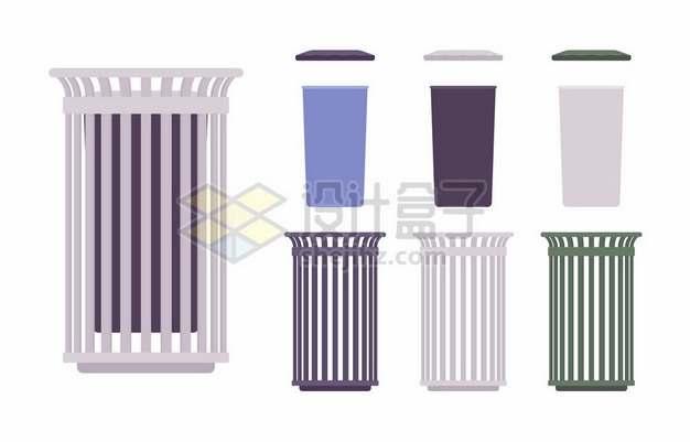 各种垃圾桶扁平插画285258png矢量图片素材