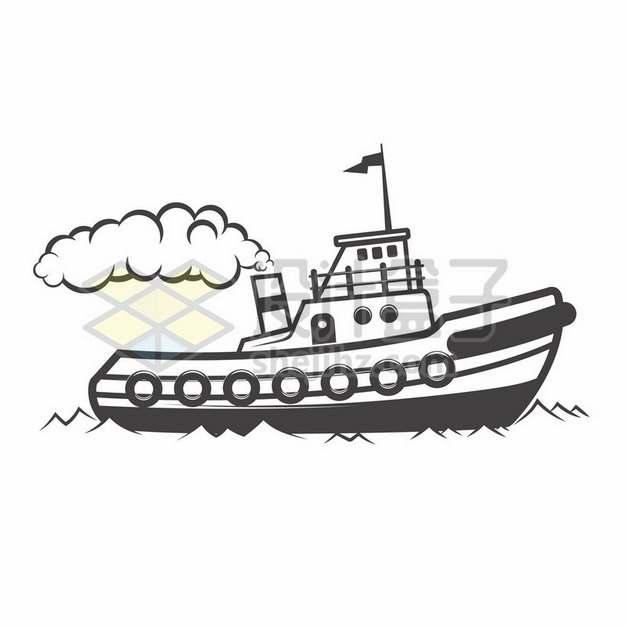 冒烟的卡通渔船黑白插画946079png图片素材