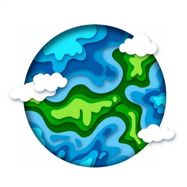 剪纸叠加风格蓝色地球784970png图片素材