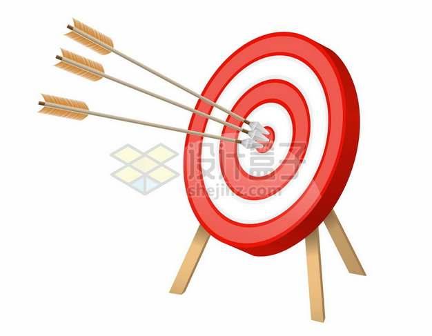 三支箭射中水晶风格红白色靶心靶子靶标247551png矢量图片素材