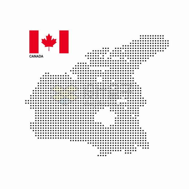 黑色圆点组成的加拿大地图和国旗图案png图片素材