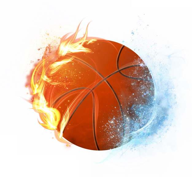 冰火两重天燃烧火焰和冰冻的篮球png图片素材