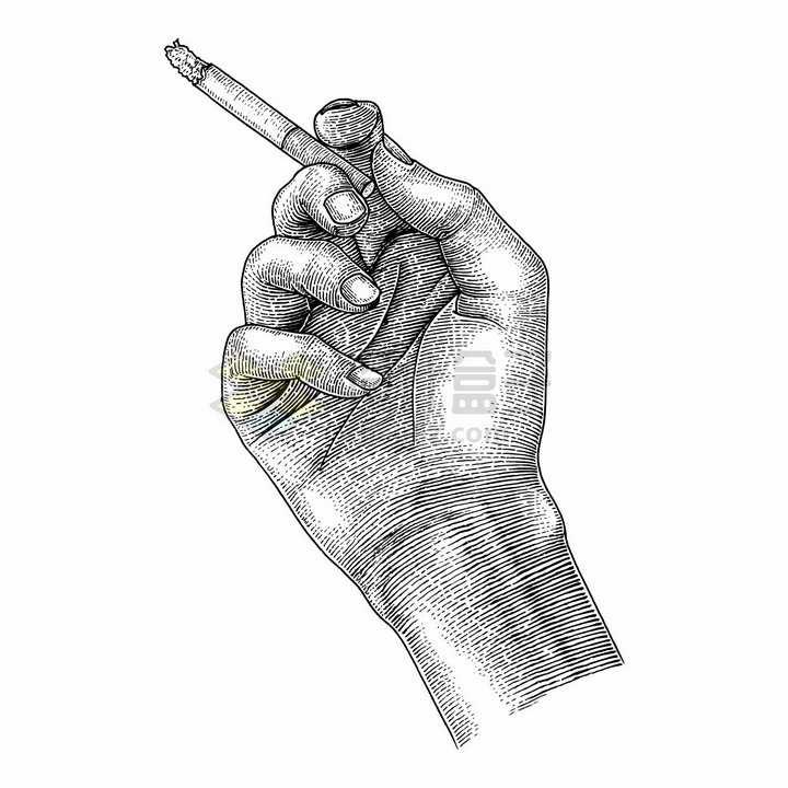 拿着香烟的手手绘素描插画png图片免抠矢量素材