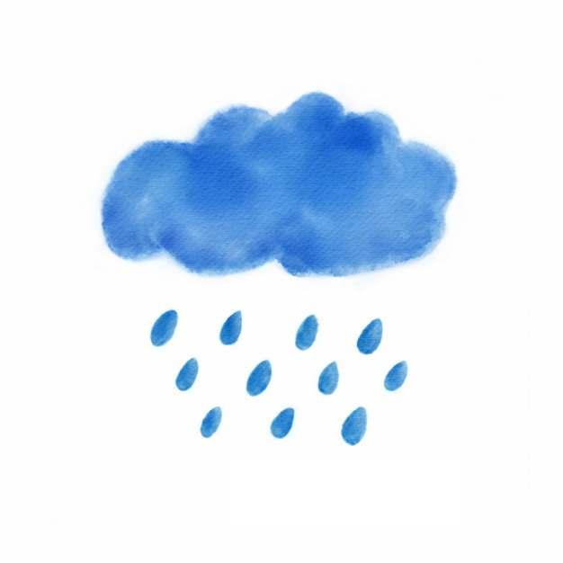 水彩画风格下雨的乌云128095png图片素材