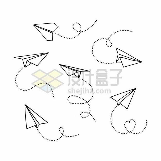各种带虚线条的线条纸飞机494009png图片素材