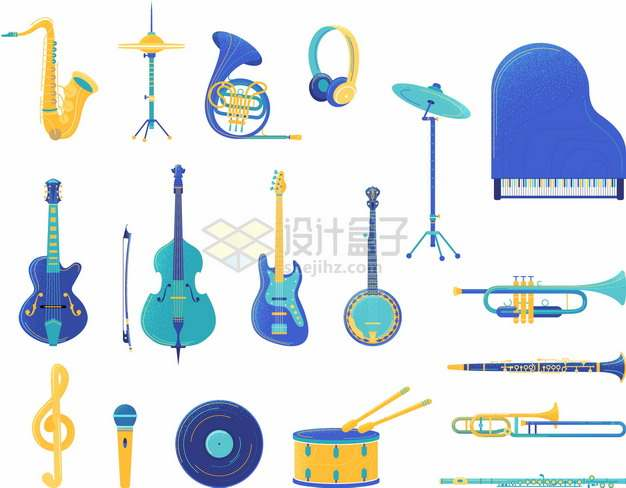 各种蓝紫色的萨克斯架子鼓大号钢琴小提琴等西洋音乐乐器png图片素材