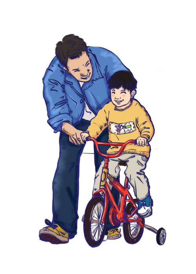 卡通爸爸教儿子骑自行车父亲节插画396730png图片素材