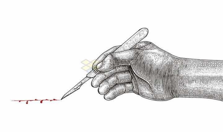 医生的手正在用手术刀切开皮肤彩色手绘素描插画png图片免抠矢量素材