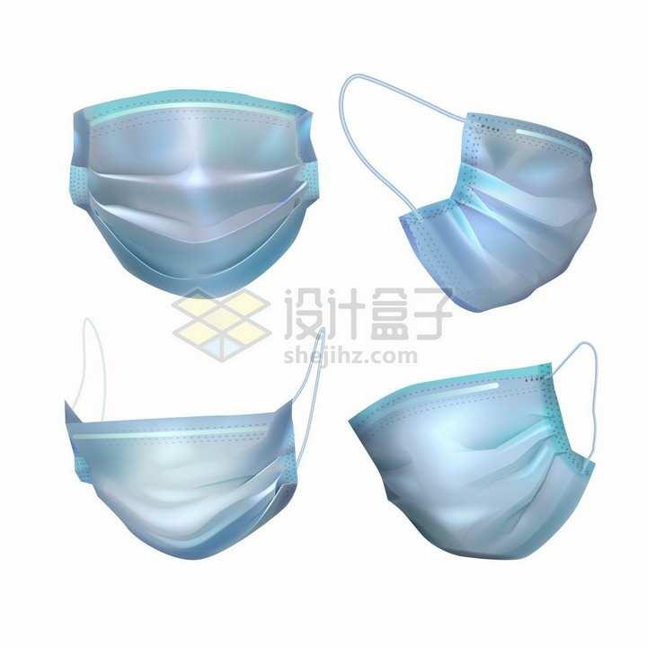 蓝色一次性医用口罩的4个不同角度png图片免抠矢量素材