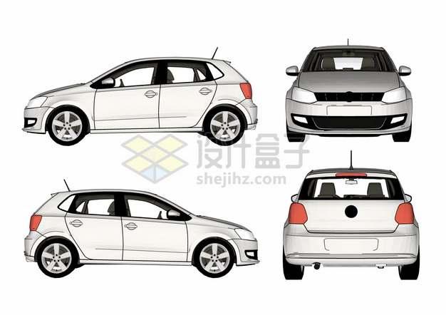 银色小汽车高尔夫汽车的四视图png图片素材