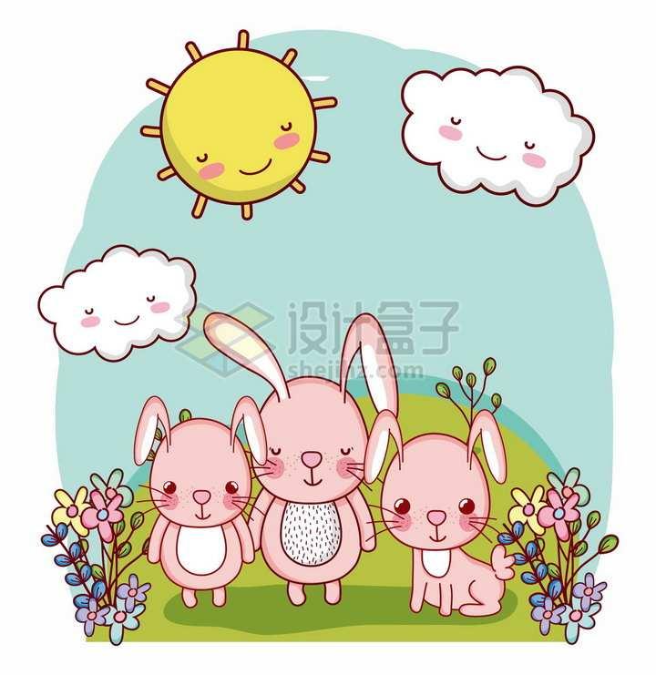 超可爱卡通太阳云朵草地上的小兔子png图片免抠矢量素材