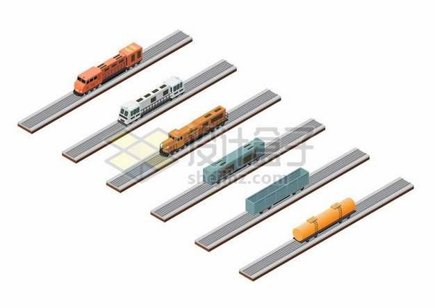 3D风格铁路上的火车头和货运车厢油罐车厢等591950png图片素材
