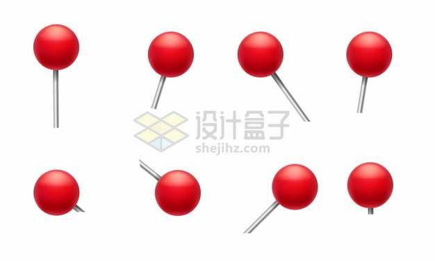 不同角度的红色圆头图钉png图片素材
