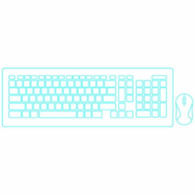 蓝色科技风格电脑键盘鼠标png图片素材868772