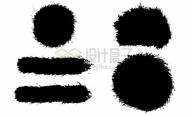 黑色圆形长方形毛笔涂鸦笔触png图片素材