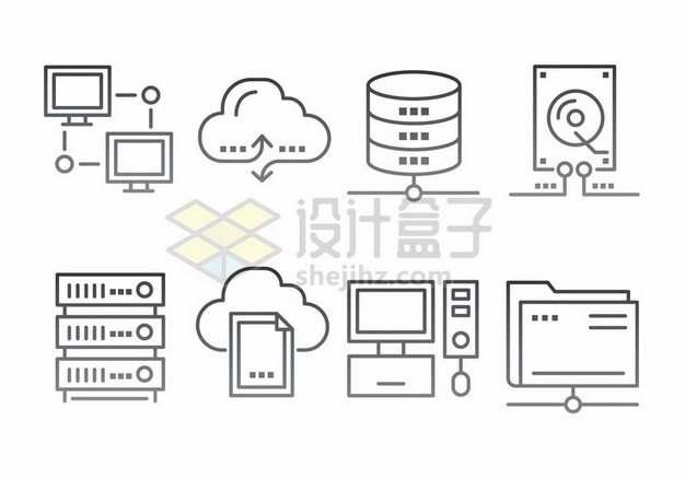 云计算技术服务器线条图标561373png图片素材