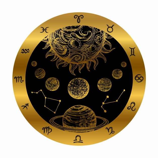 黄金占星术罗盘手绘插画png图片素材