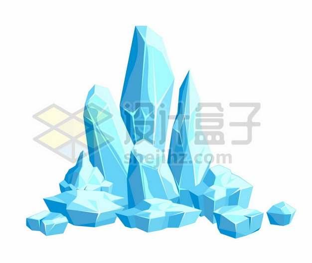 蓝色的卡通漫画冰山冰块271041png图片素材