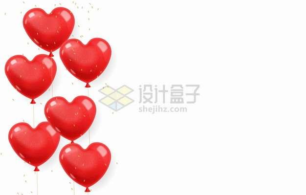 6个串联的红色心形气球装饰png图片素材