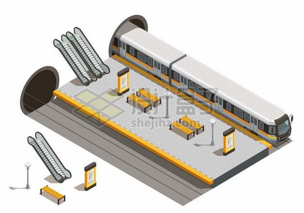 3D风格隧道中出来的地铁和车站设施244098png图片素材