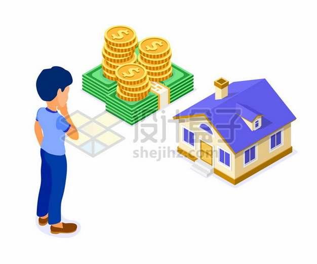 2.5D风格金币钞票和房子象征了买房子房贷319738png矢量图片素材