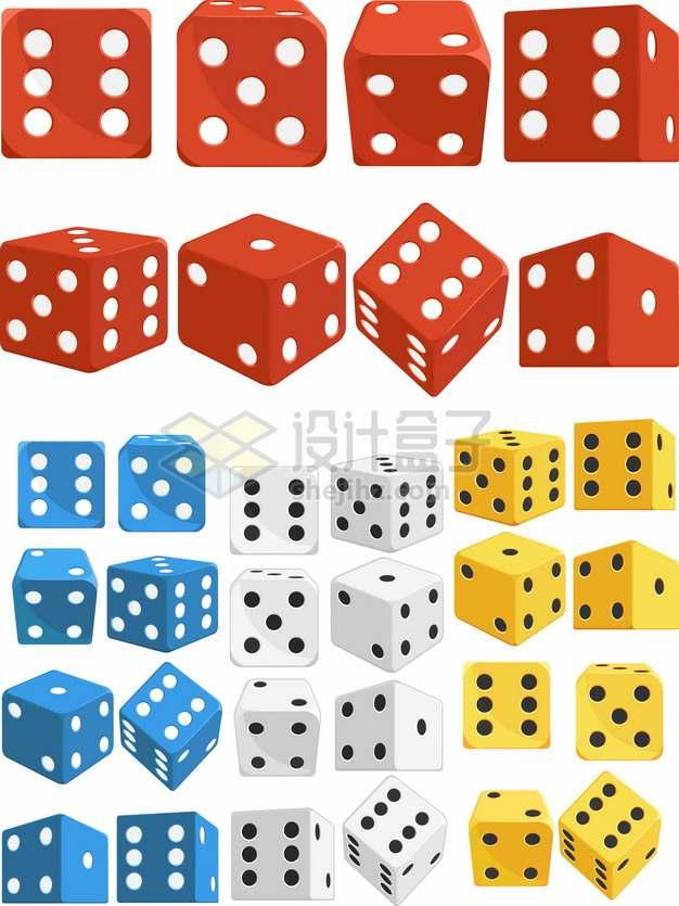 红色蓝色白色和黄色立体骰子646706png图片素材