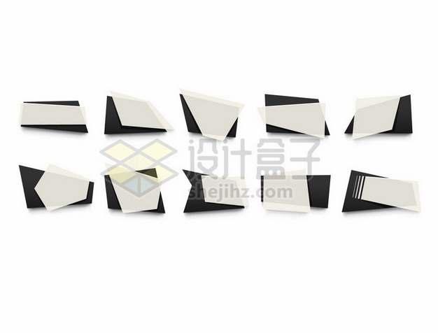 10款米白色黑色多边形组成的文本框标题框装饰102614png图片素材
