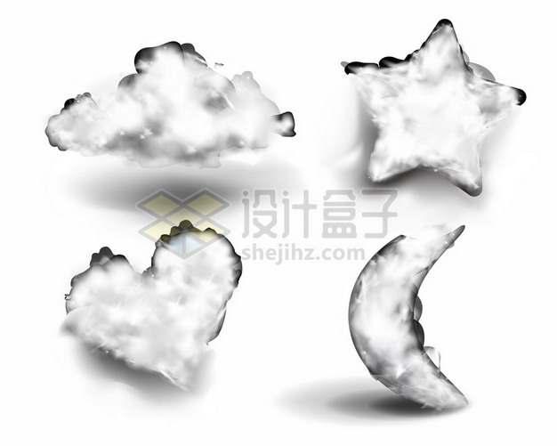 4款白色的五角星心形弯月形白云807237png矢量图片素材