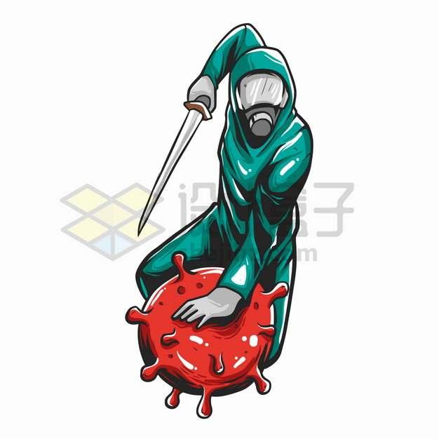 手持利剑的医护人员斩杀新型冠状病毒卡通漫画png图片素材
