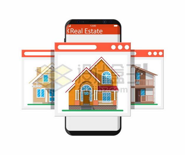 在手机上选择房子买房738076png矢量图片素材 金融理财-第1张