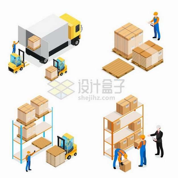 2.5D风格叉车从卡车上卸货到货物架上物流快递行业png图片免抠矢量素材
