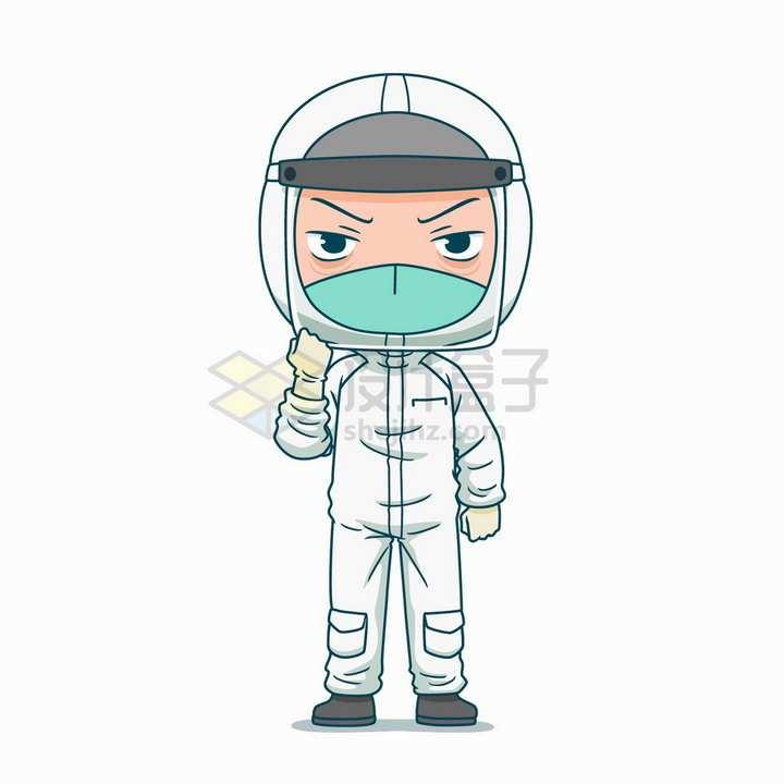 穿戴防护服的卡通医护人员png图片免抠矢量素材