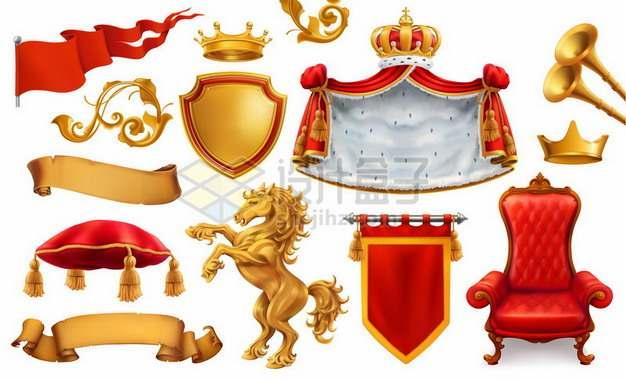 欧洲西欧王室的旗帜王座金马袍子王冠等王室用品装饰png图片素材
