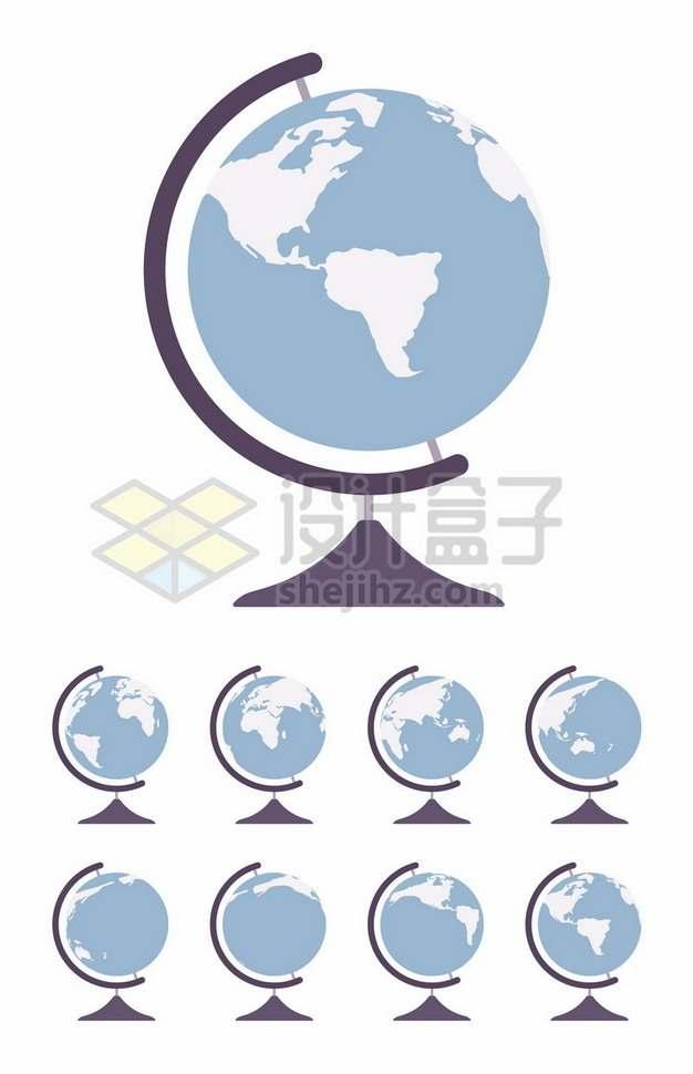 9个不同角度的地球仪图案887868png矢量图片素材