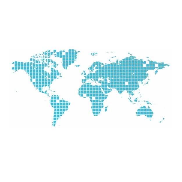 蓝色小方块组成的世界地图392083png图片素材