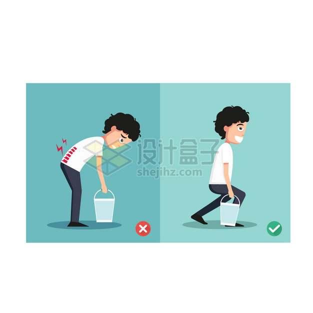 正确和错误的下蹲弯腰拎水桶动作卡通男孩插画png图片素材